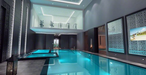 Pool with floating mezzanine gym