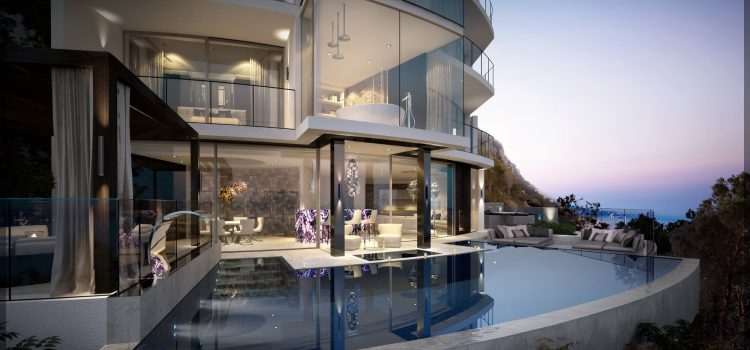 Gibraltar glass contemporary cantilevered pool