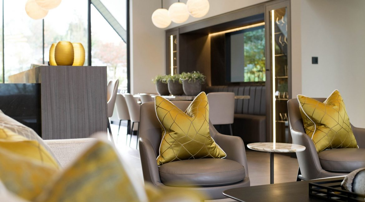 Contemporary super prime home Ribble Valley, UK - yellow cushions